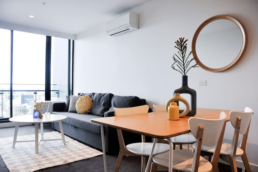 Melbourne-style living set up.