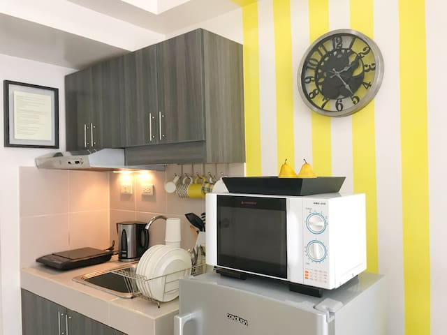 Basic kitchen - induction cooker, microwave, refrigerator, electric kettle, plates, cups, mugs, utensils.