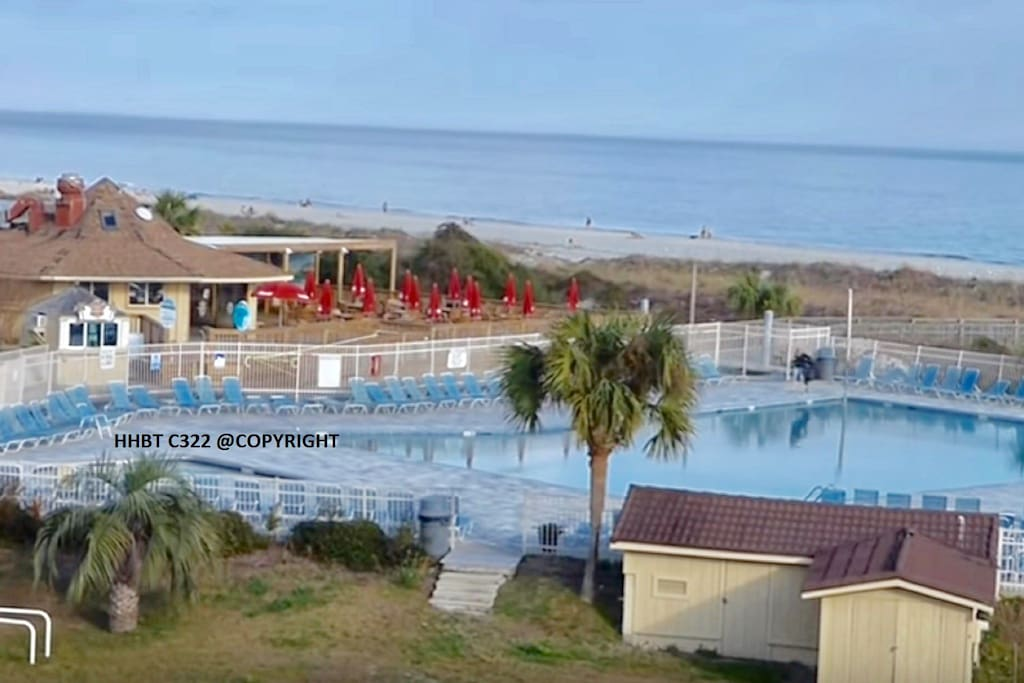 Steps to Largest BeachFront Pool on HHI!