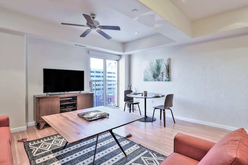 Living room accented by a spacious floor plan.