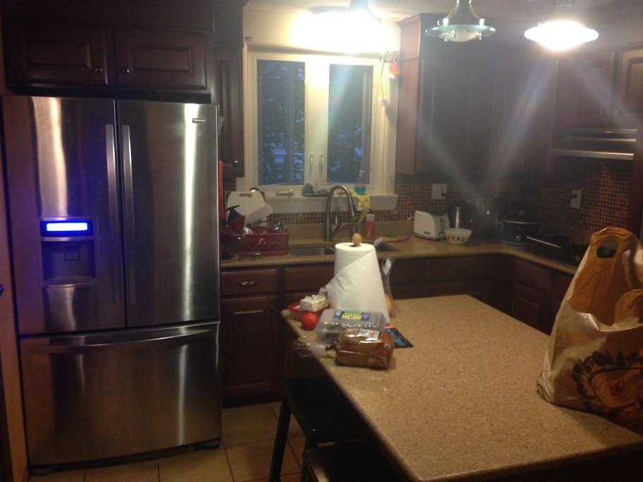 kitchen: fridge + gas stove + island