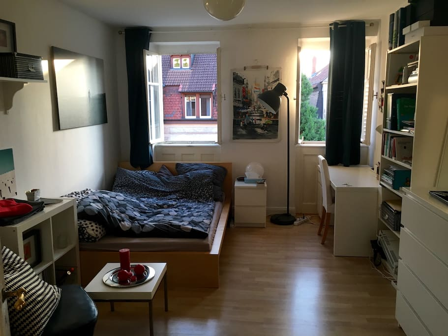 the room with a double bed