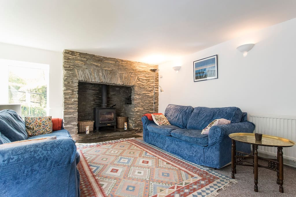 The Main lounge with original wood burning fire place