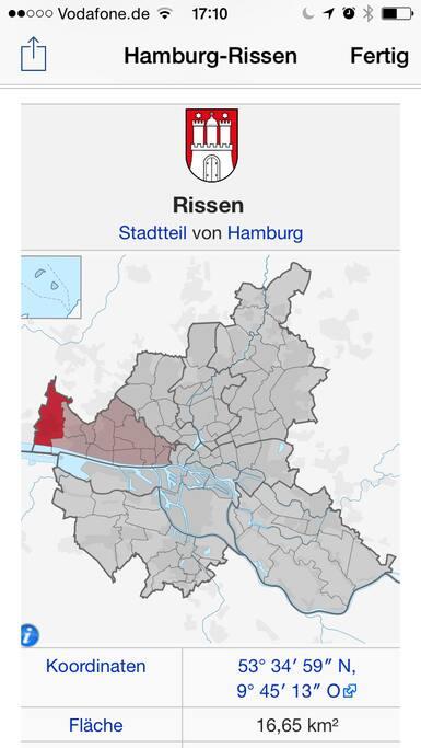 • Mein Haus liegt im Stadtteil Rissen (rot), einem sehr grünen Bezirk. Gut zum runter kommen, spazieren gehen, joggen oder Fahrrad fahren.  • My house is in Rissen (red) a very green district. Good to come down, walk, jog or bicycle.