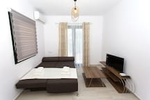 living room-tv-air condition-sofa can be double bed