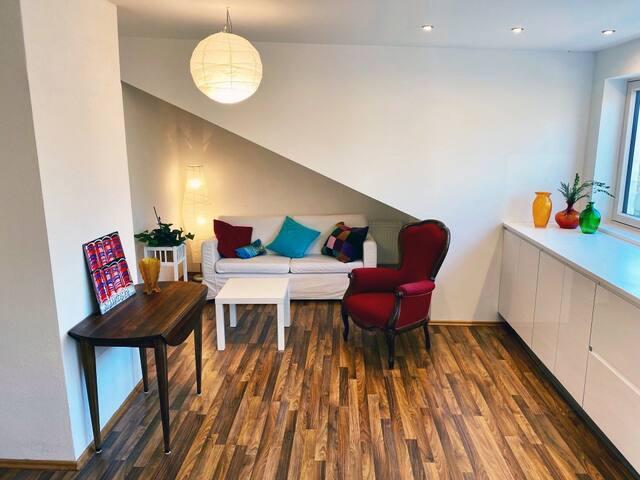 5 ppl. loft in refurbished townhouse free parking