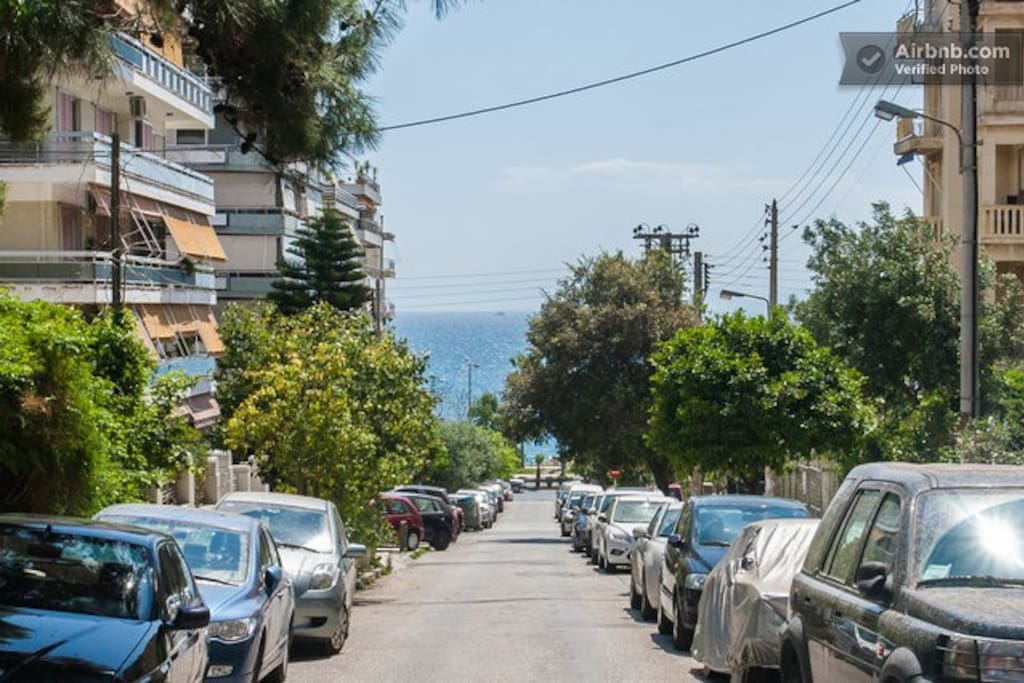 Beach is at the end of the street (250m).