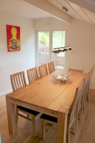 A large dining table which seats plenty