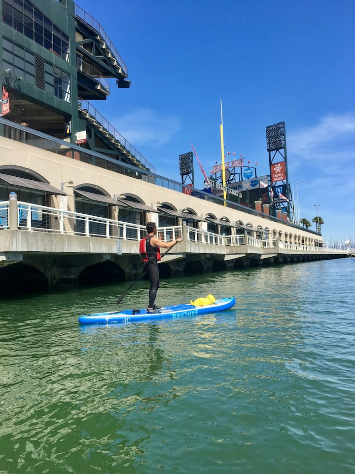 Paddleboarding in McCovey Cove!