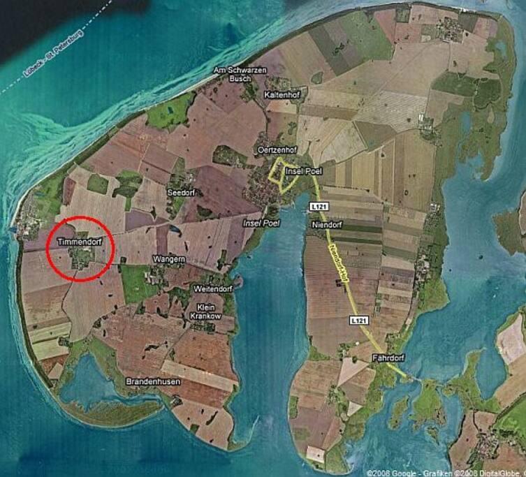 Lage von Timmendorf auf der Insel Poel.