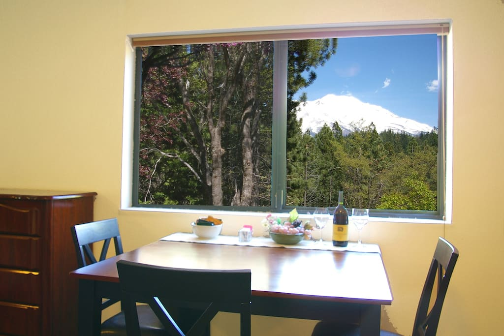 We offer a complimentary bottle of wine, at check-in. Have a glass or two of wine and enjoy the spectacular view of Mt. Shasta!