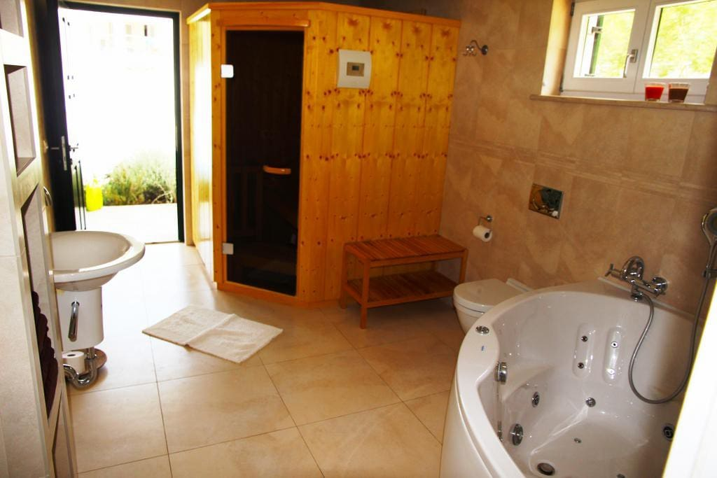 Lower Bathroom#1 + Sauna and Massage tub
