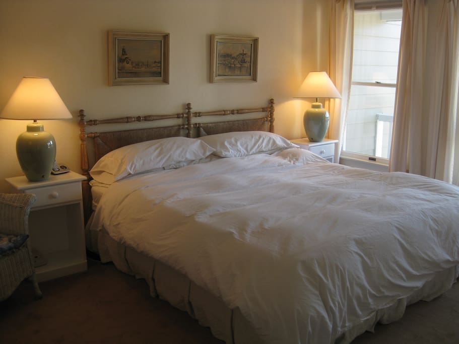 Sunny and quiet, comfy pillows & comforters, king bed & private bathroom in Master, twin beds in 2nd & 3rd. Lots of closet space.