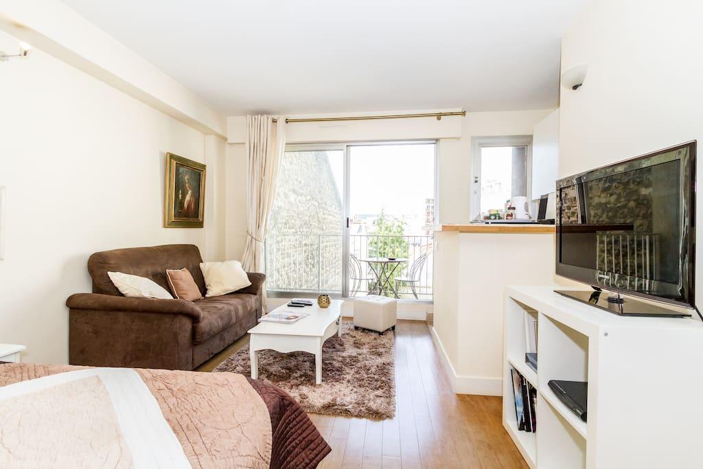 superbe studio montparnasse balcon appartements louer paris le de france france. Black Bedroom Furniture Sets. Home Design Ideas