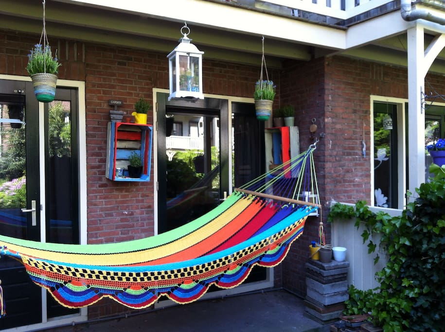 Garden with a huge hammock for two people