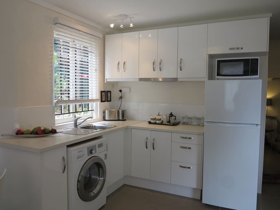 another view of the kitchenette with fridge & microwave. We now have an induction cooktop.