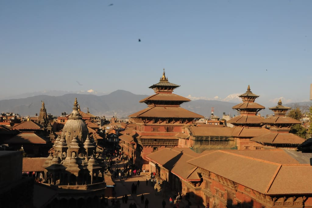 UNESCO World Heritage Site: 'Patan Durbar Square' and mountains, view from guest house.