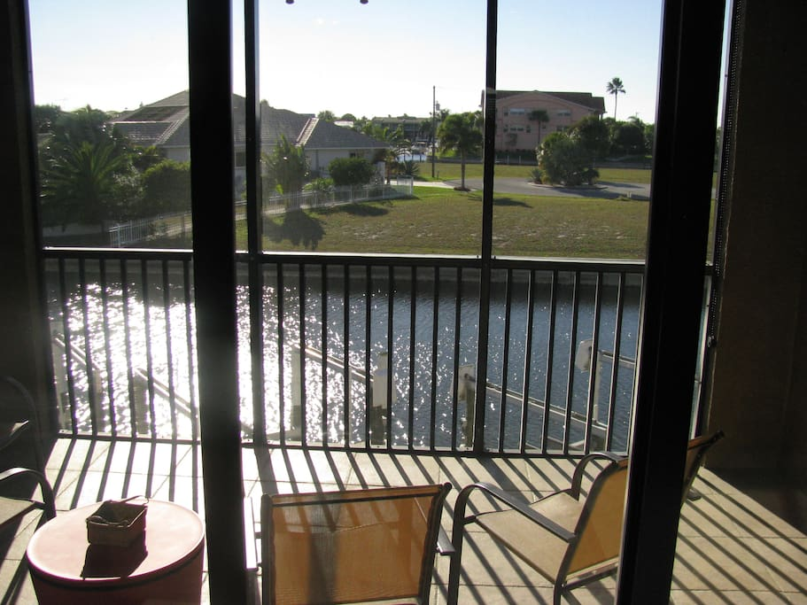 Great lanai with overlooking the canal.  Sunsets and Dolphins can be spotted.
