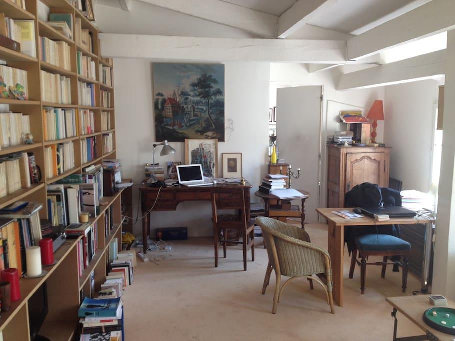 La salon plein de lumière et sa bibliothèque