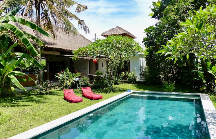 Ocean + rice paddies views Villa with private pool