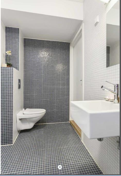 Bad med dusj og toalett