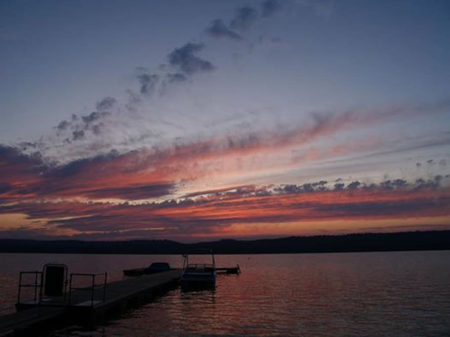 Photo from cabin deck at dock which can be used for swimming off and watching lake and sunset.
