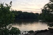 About a mile away, there is a paved path and boat ramp along the scioto river.