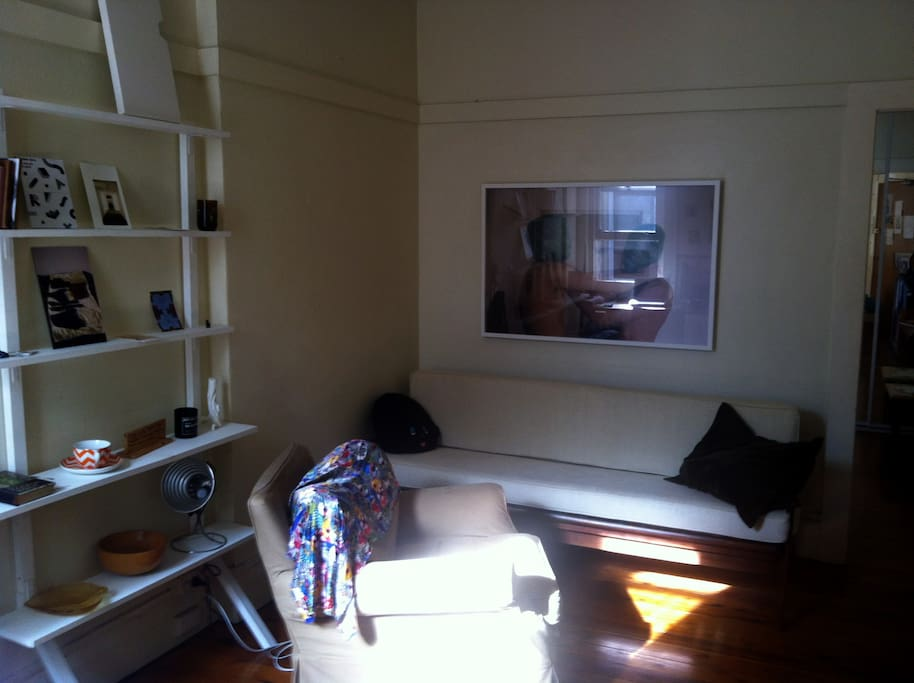 The  lounge room with danish sofa and armchair