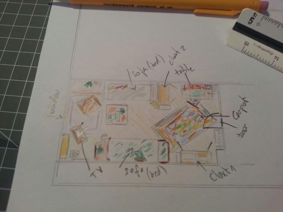 La chambre vue d'en haut / Sketch top view