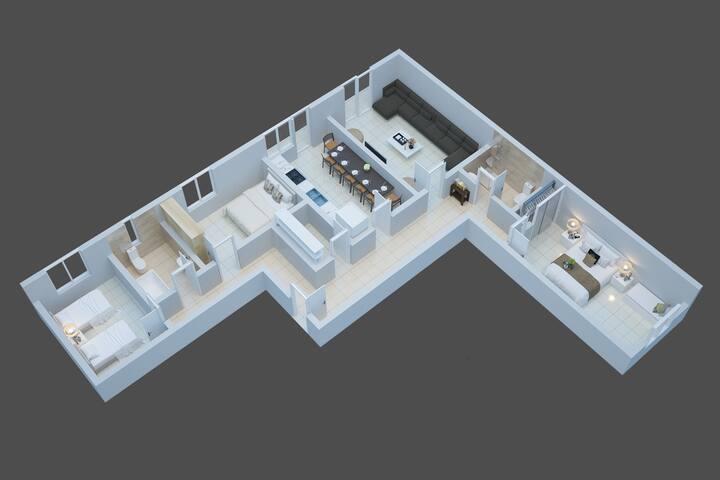 Flat's plan 110m2 / Teresinha's home
