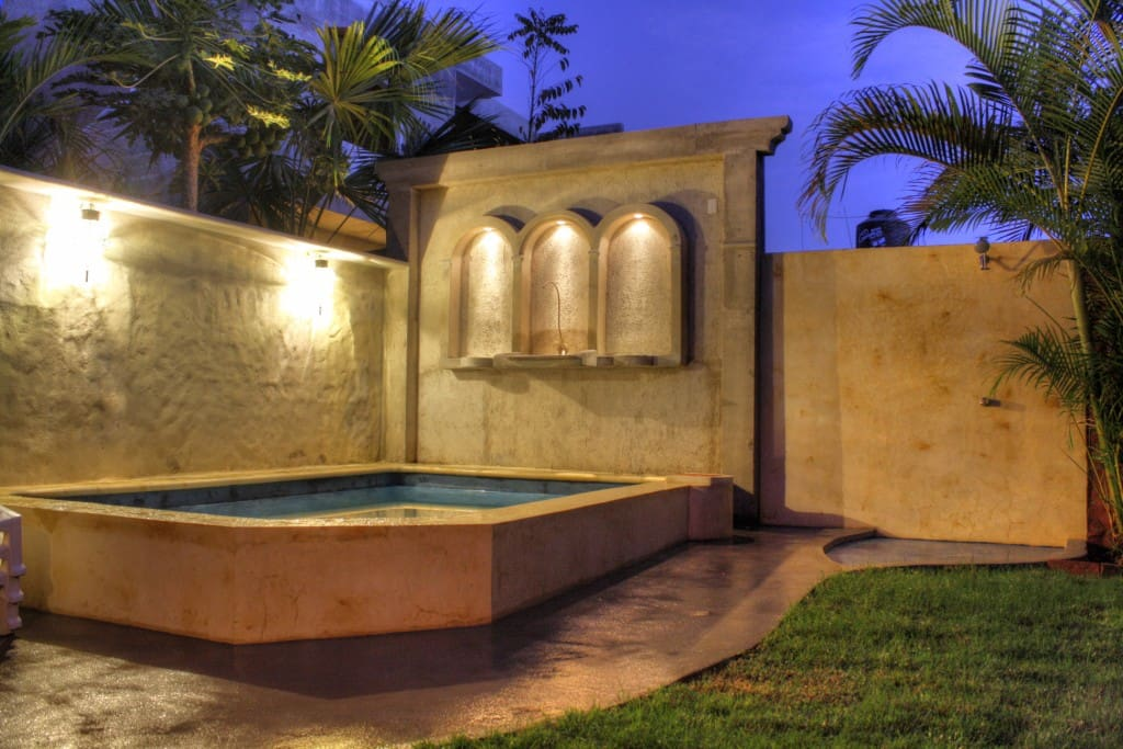 Pool & shower area at twilight.