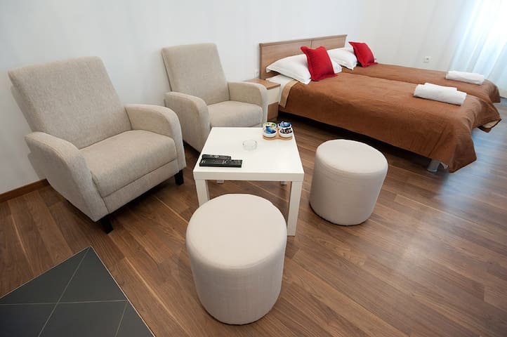 Comfortable relax zone with flat tv