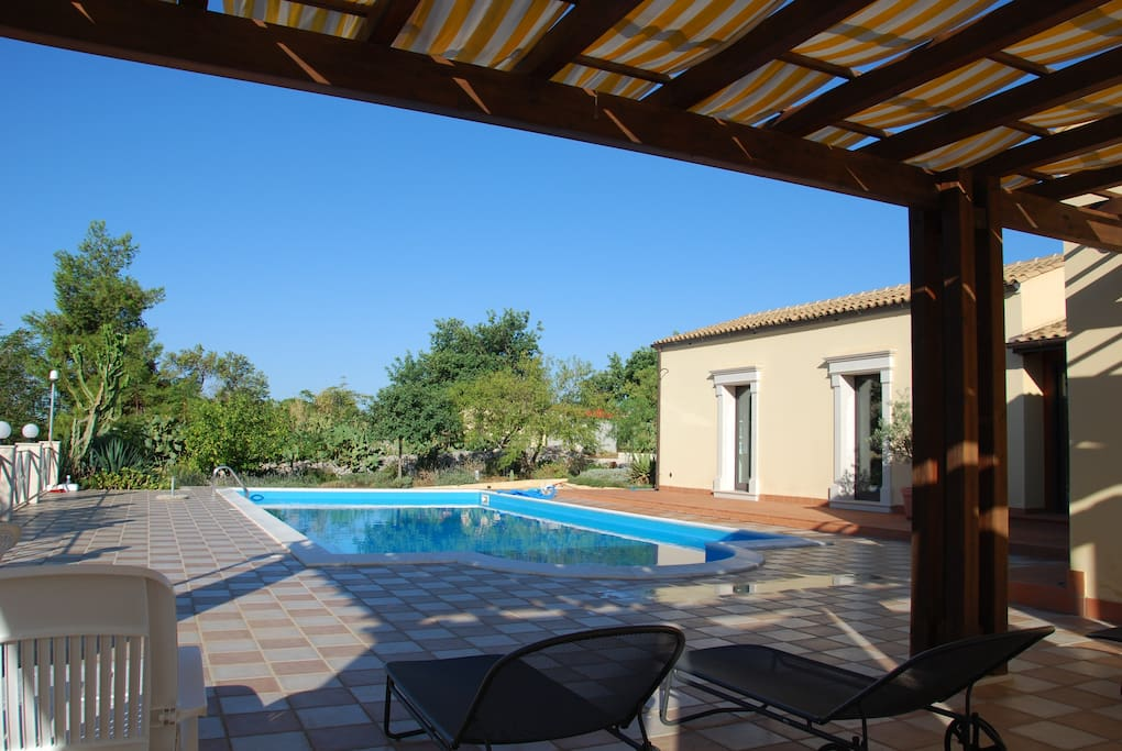 La Piscina. Swimming pool, from the patio