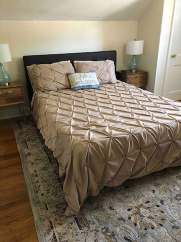 Queen bed with brand new comfortable mattress.