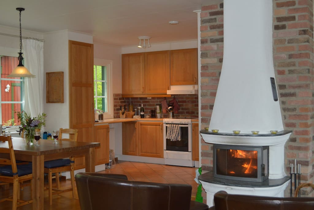 Kitchen and dining area next to the fireplace