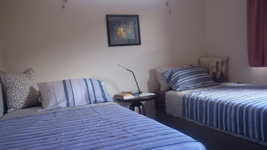 A bedroom with two king single beds
