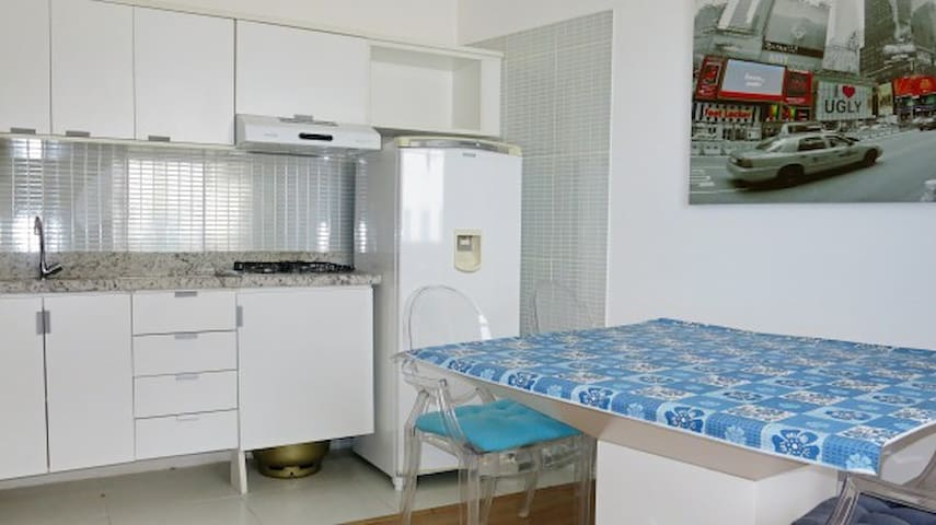 Fully equippred kitchen, brand new stove and fridge (with freezer compartment and ice maker)