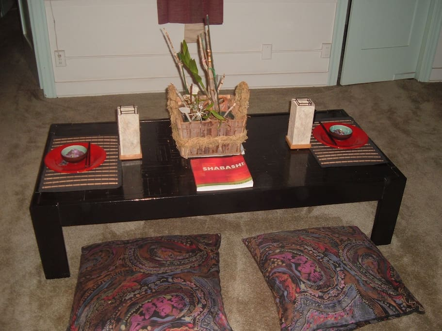 Japanese themed dining room.