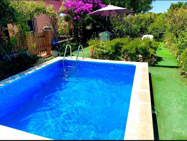 Casita de campo con piscina