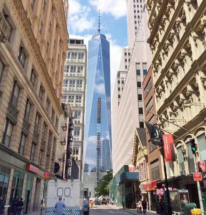 Steps to World Trade Center and Memorial.