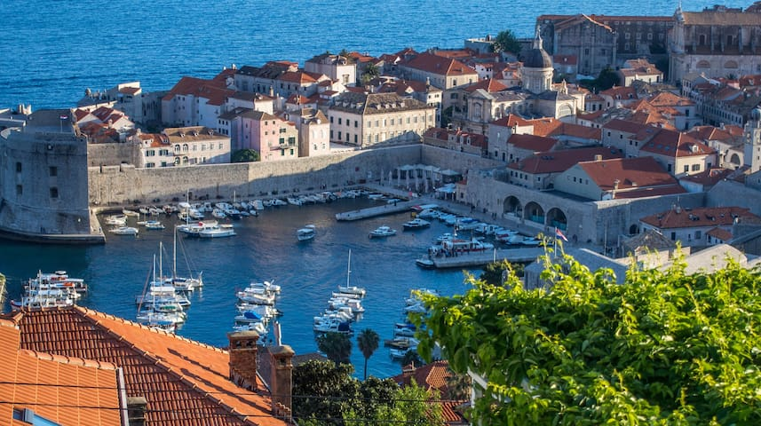 zoom view on old port of Dubrovnik