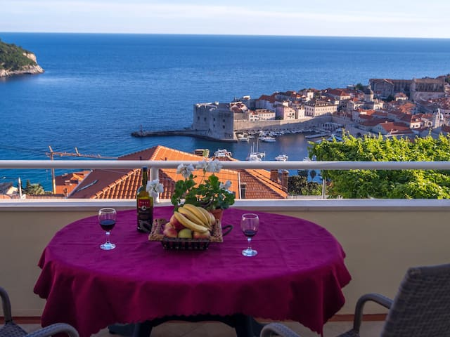 view from balcony to the Old town of Dubrovnik