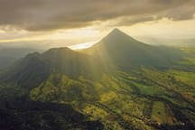 La Fortuna , Arenal volcano and Cerro Chatto crater from Above