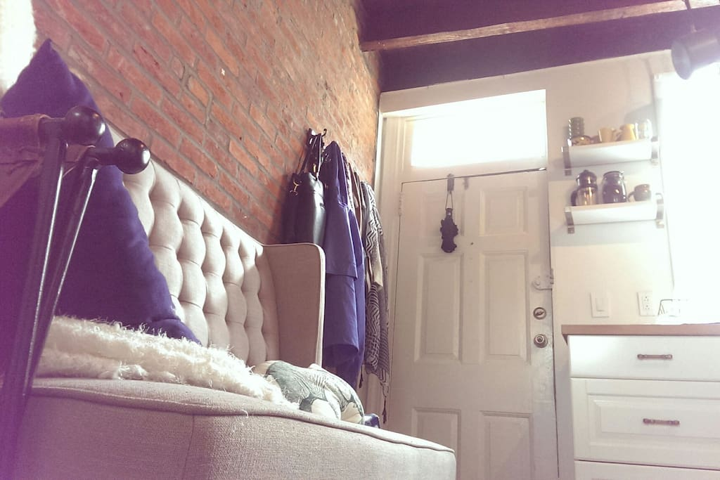 Couch and front door.