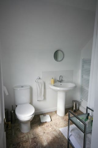 Ensuite modern shower room with heated towel rail