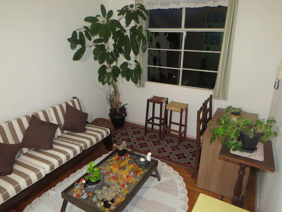 Sala ampla com sofá e linda vista, janela com blackout