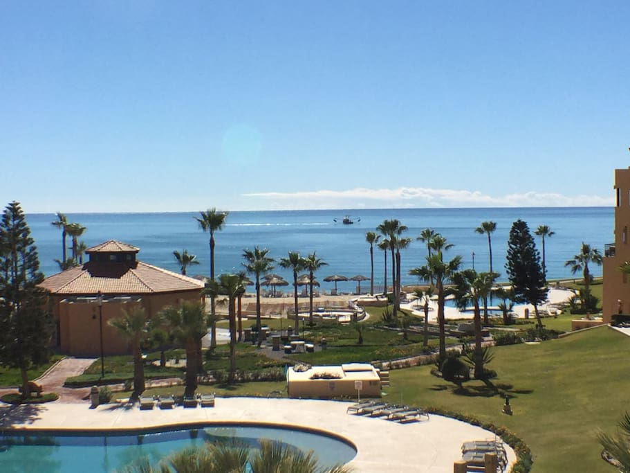 Beautiful view of the pools, beach, and ocean right from the deck!
