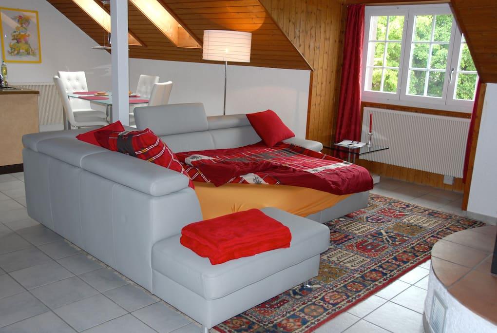 Sofa in living room easily unfolds into a twin bed - Sofa im Wohnzimmer zum Ausziehen in ein Doppelbett