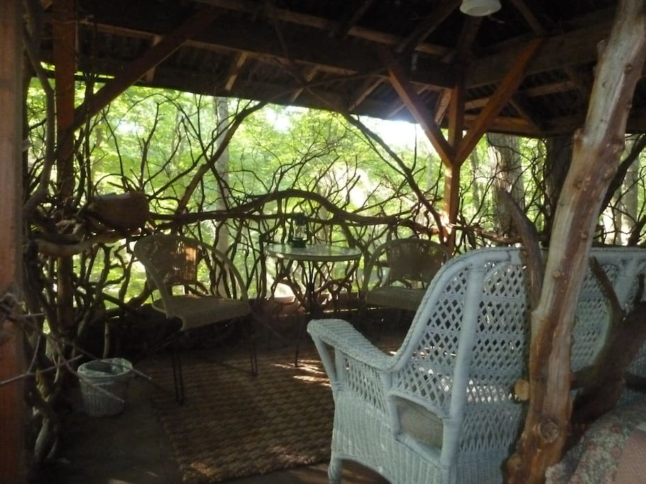 Voted most Romantic, it is made out of Mt Laurel branches. It has a double bed and is screened in.