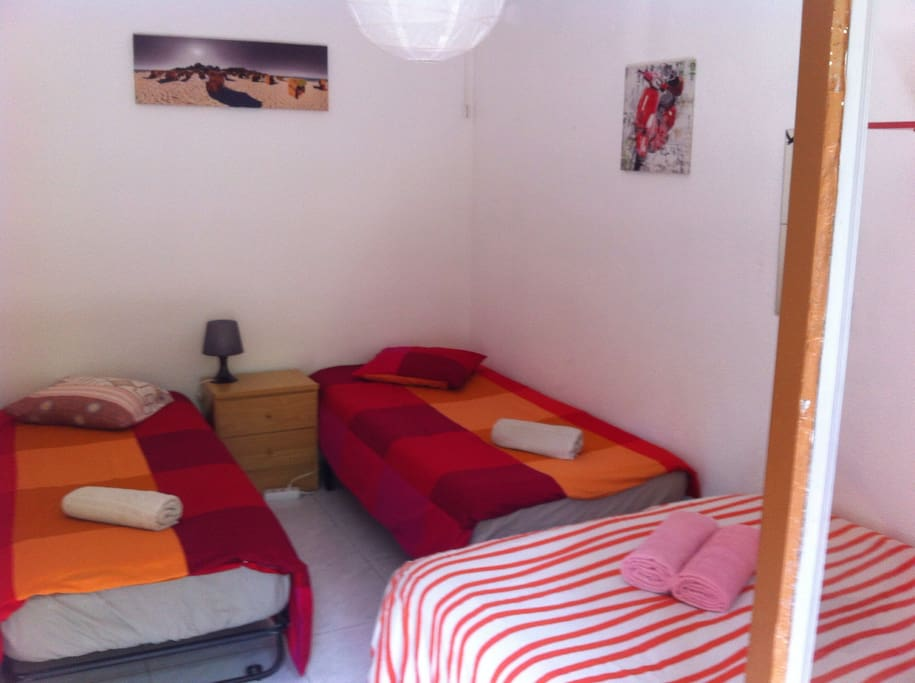 One double bed and two single, if wanted.